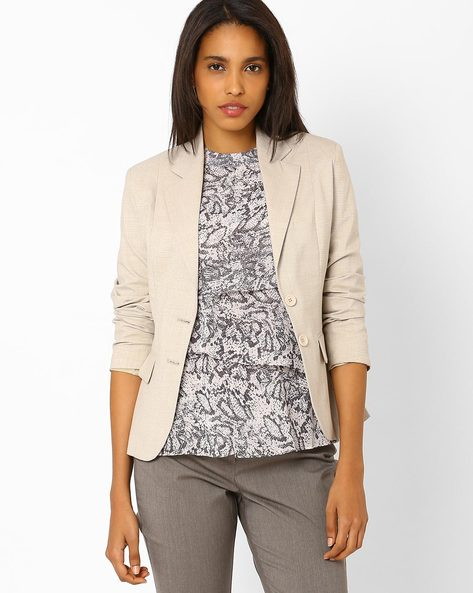 Single-Breasted Blazer By Annabelle By Pantaloons ( Beige )