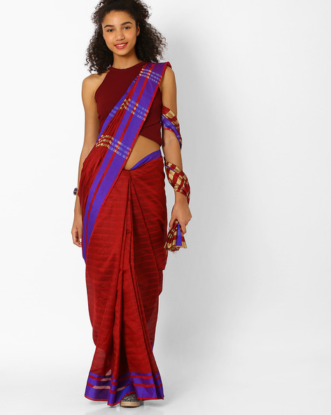 Striped Saree With Zari Border By Florence ( Maroon )