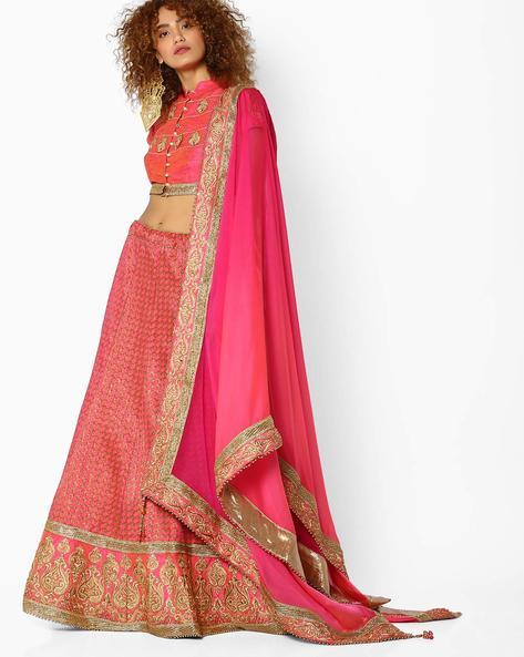 Jacquard Silk Lehenga Choli Set By Mahotsav ( Pink )