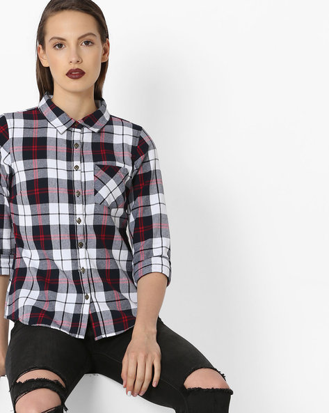 Checked Shirt With Patch Pocket By Alibi ( White )