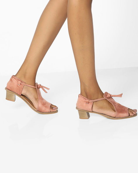 Block Heeled Sandals With Ankle Strap By AJIO ( Nude )