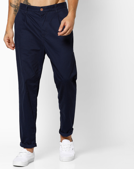 Cotton Pants With Pleated Front By Tom Tailor ( Blue )