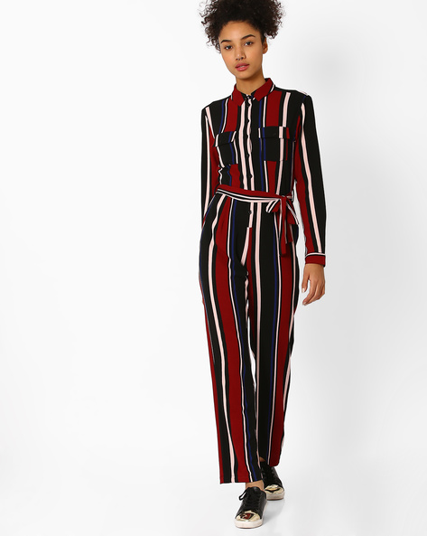 Striped Jumsuit With Tie-Up By AJIO ( Burgundy )