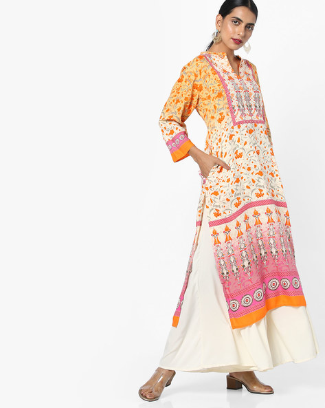 Floral Print Straight Kurta By Shree ( Orange )