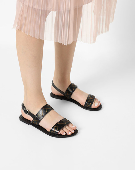 Genuine Leather Dual-Strap Sandals By THEEA ( Black )