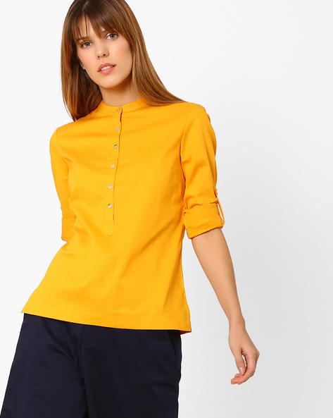 Shirt With Roll-Tab Sleeves By AJIO ( Yellow )