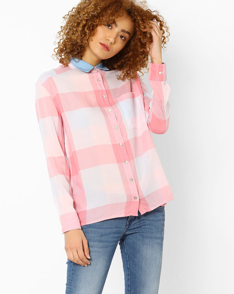 Checked Shirt With Patch Pocket By Lee ( Pink )