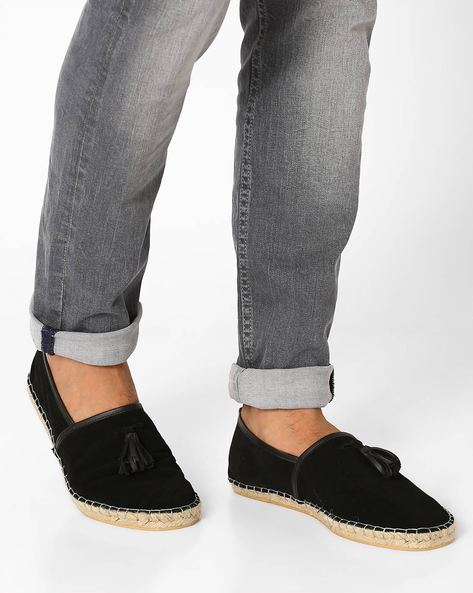 Suede Leather Espadrilles By FAMOZI ( Black )