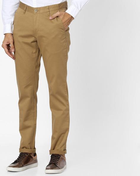 Slim Fit Flat-Front Trousers By JOHN PLAYERS ( Khaki ) - 440787073002