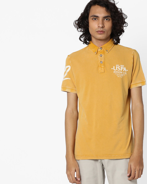 Washed Polo T-shirt With Placement Print By US POLO ( Yellow )