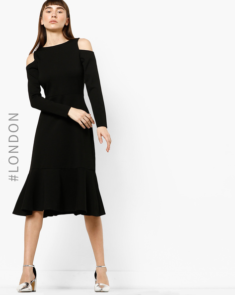 Cold-Shoulder Dress With Peplum Hem By Closet London ( Black )