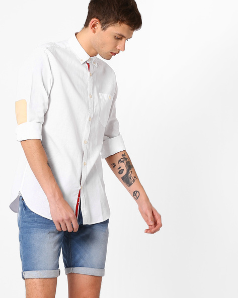 Button-Down Shirt With Elbow Patch By ADAMO LONDON ( White )
