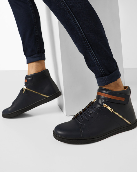 Panelled High-Top Lace-Up Sneakers By AJIO ( Navy )