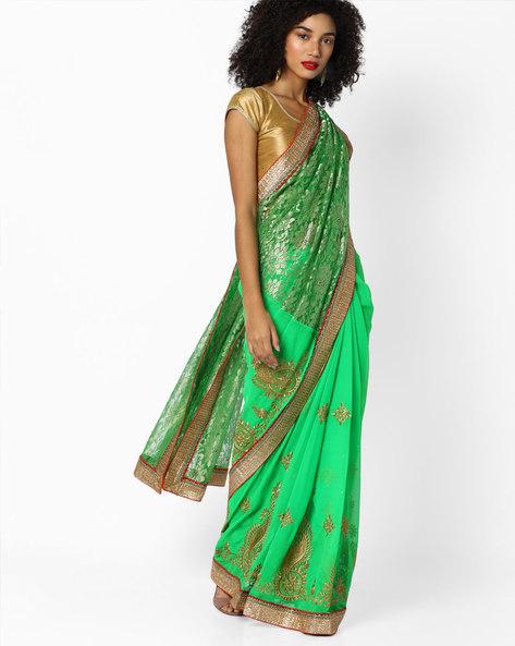 Half & Half Embroidered Saree By CHHABRA 555 ( Green )