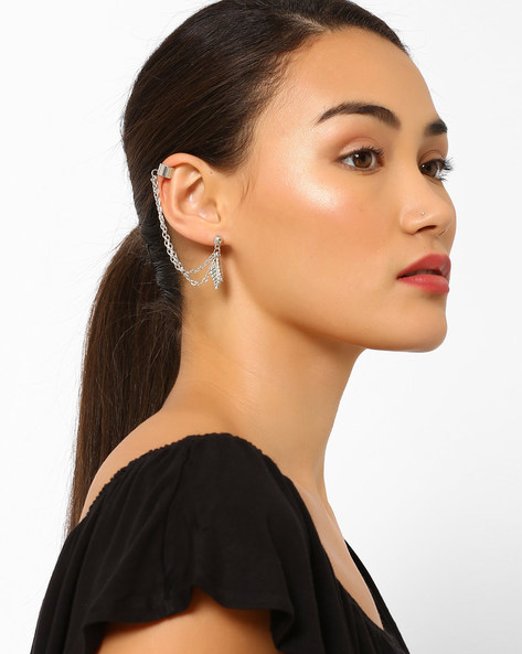 Silver-Plated Ear Cuffs With Leaf Trinkets By Joker & Witch ( Silver )