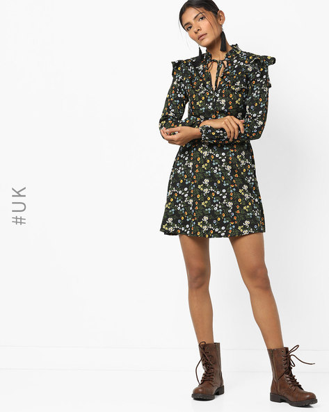 Floral Print Dress With Tie-Up By INFLUENCE ( Black )