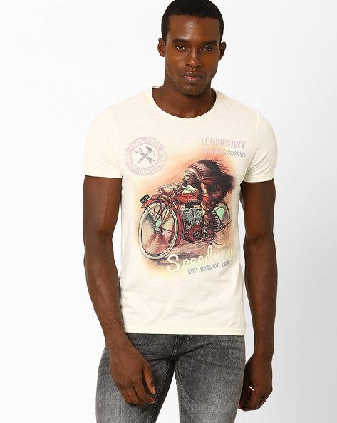 Retro Biker Print T-shirt By AJIO ( Offwhite )