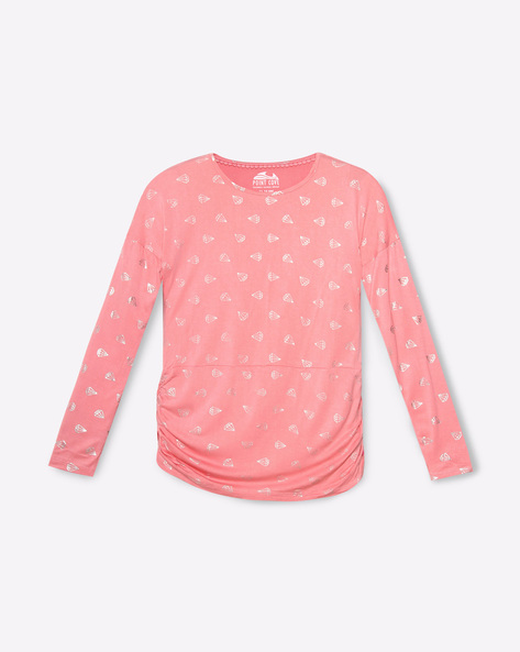Printed T-Shirt With Ruched Sides By POINT COVE ( Pink )