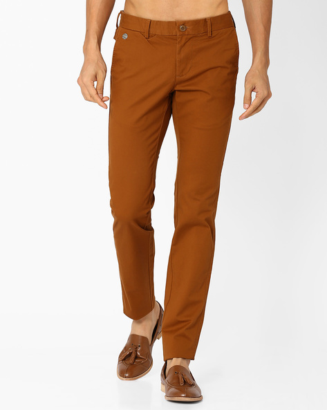 Flat-Front Slim Fit Trousers By INDIAN TERRAIN ( Coffeebrown )