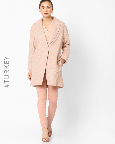 Trench Coat With Button Closure By Closet London ( Pink )