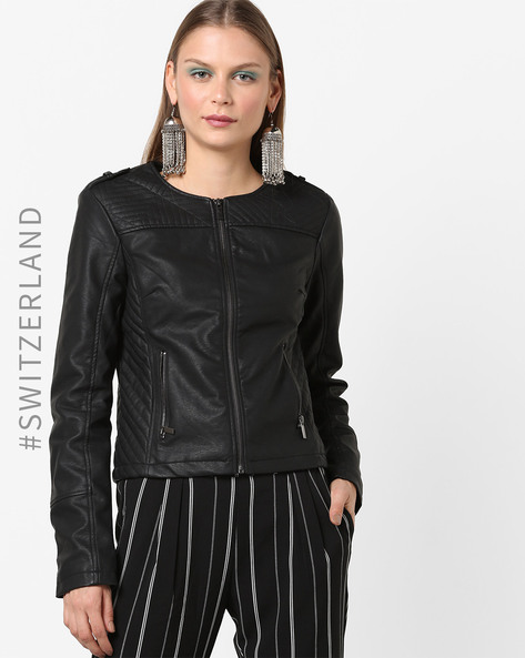 Panelled Biker Jacket With Front Zip By TALLY WEiJL ( Black )