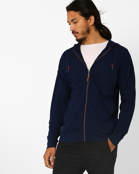Cotton Hoodie With Zip Front By Celio ( Indigo )
