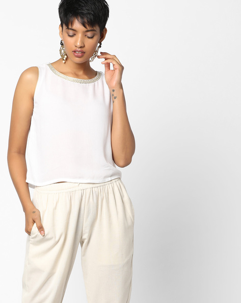 Short Top With Embroidered Neckline By PE IW Fusion ( White )