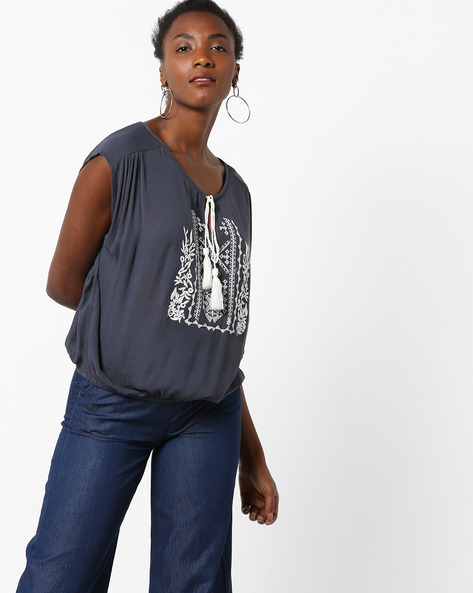 Blouson Top With Embroidery By Rena Love ( Grey )