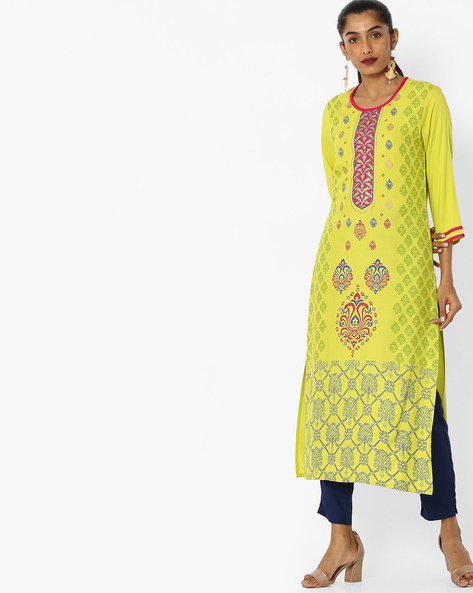 Printed Straight Kurta By Indian Ink ( Limegreen )
