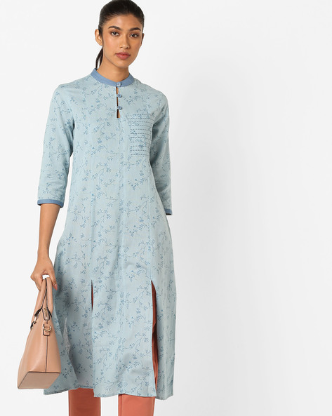 Floral Print Kurta With Mandarin Collar By AJIO ( Lightblue )
