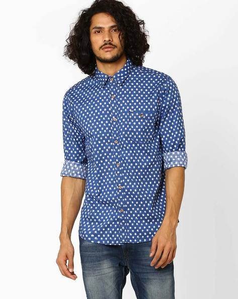 Slim Fit Shirt With Patch Pocket By SIN ( Blue )
