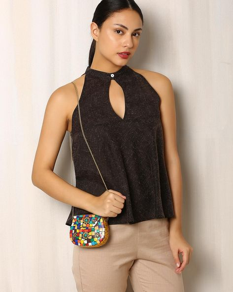 Handmade Resin Clutch With Metal Chain By Indie Picks ( Multi )