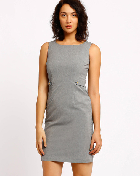 Sleeveless Tailored Dress By Annabelle By Pantaloons ( Grey )