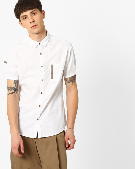 Slim Fit Poplin Shirt With Patch Pocket By AJIO ( White )