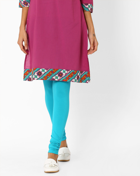 Churidar Leggings With Elasticated Waist By AJIO ( Turquoise )