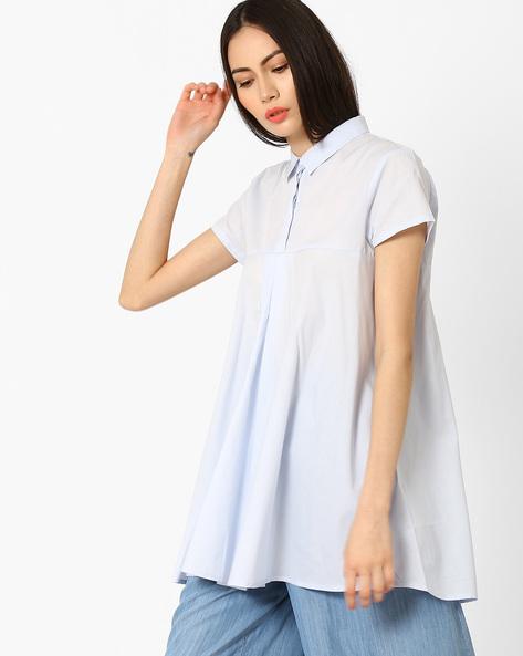 Cotton Top With Cap Sleeves By Vero Moda ( Lightblue )