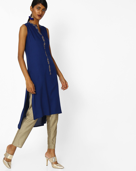 Collared Kurta With High-Low Hemline By AVAASA MIX N' MATCH ( Navy )