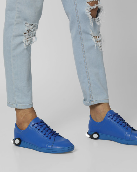 Lace-Up Sneakers With Detachable LED Bands By AJIO ( Lightblue )