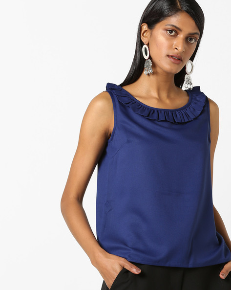 Sleeveless Top With Ruffled Neckline By FIG ( Navy )