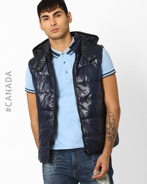 Reversible Hooded Quilted Jacket By Point Zero ( Navycharcoal )