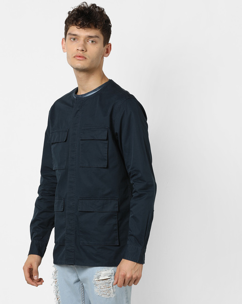 Shackets With Concealed Button Placket By AJIO ( Midnightblue )