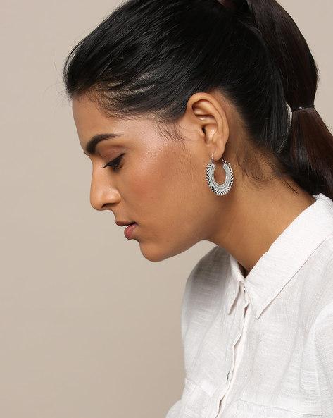 Oxidised German Silver Hoop Earrings By Rubans ( Silver )