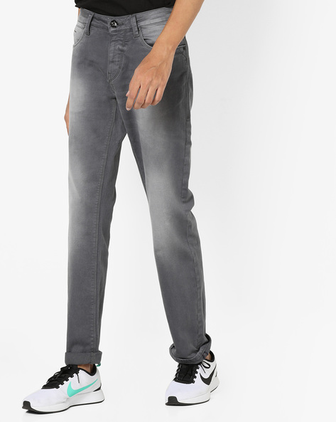 Mid-Rise Slim Fit Washed Jeans By FLYING MACHINE ( Grey )