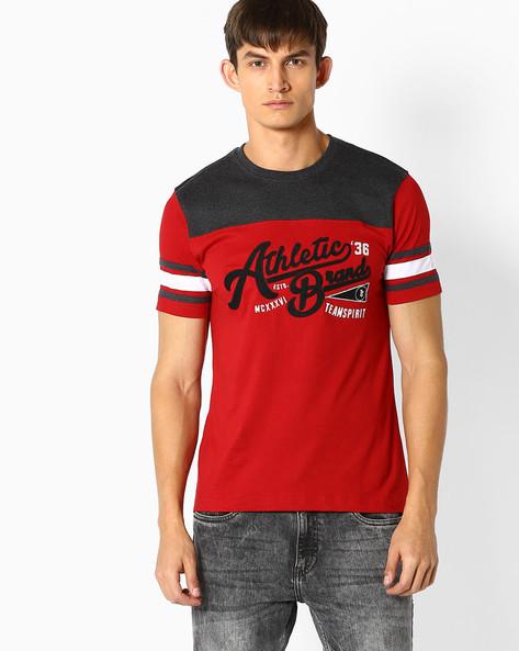 Cut & Sew Cotton T-shirt By TEAM SPIRIT ( Red )
