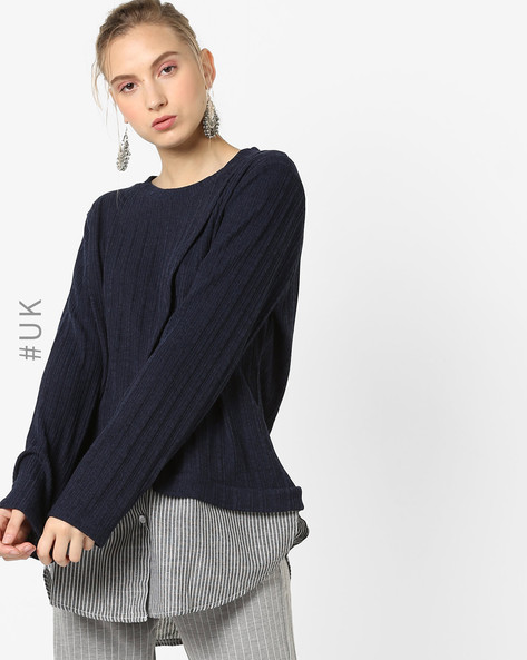 Layered Top With Overlapping Front By OEUVRE ( Navy )