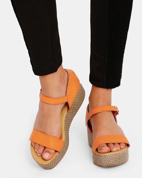 Strappy Platforms With Buckle Closure By Get Glamr ( Orange )