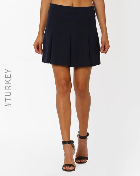 Pleated Mini Skirt By TIFFANY & TOMATO ( Navyblue )