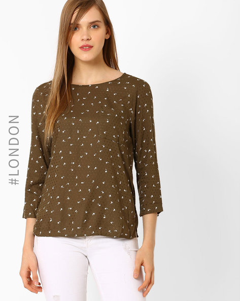 Conversational Print Top By Marks & Spencer ( Khaki )