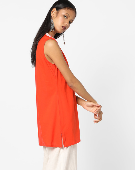 Straight Kurta With Mandarin Collar By AJIO ( Coral )