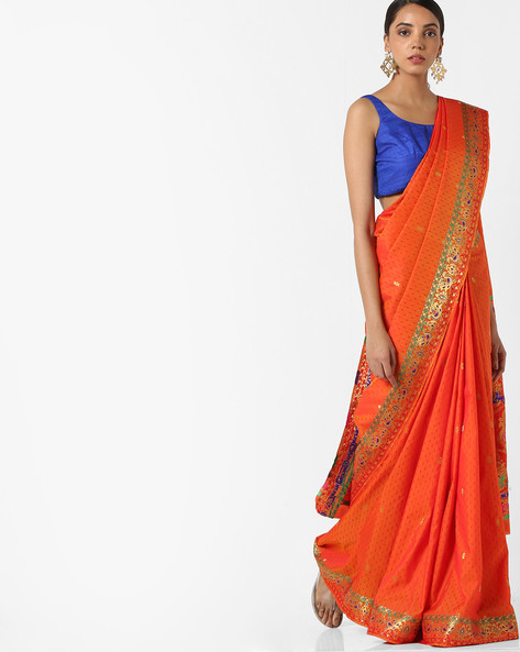 Banarasi Woven Saree With Zari Border By Parmita ( Orange )